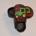 Traktor mintás  bőr puhatalpú babacipő, Piloo, Baba-mama-gyerek, Ruha, divat, cipő, Baba-mama kellék, Cipő, papucs, Bőrművesség, Varrás, Puha bőrből, rendelésre készül ez a kis cipő.  A felsőrészt  élénkzöld traktor díszíti. Elsősorban d..., Meska