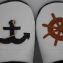 Férfi Tengerész puhatalpú, kék-fehér bőrcipő nem csak apukáknak , Piloo, Ruha, divat, cipő, Férfiaknak, Cipő, papucs, Bőrművesség, Varrás, Tengerészek kalandra fel!  Hajóskapitányok és tengerészek számára éppúgy, mint csupán kedves ajándé..., Meska
