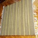 ngyszőnyeg sárgásbarna, sárga dísz csíkos, Otthon, lakberendezés, Lakástextil, Falvédő, Szőnyeg, Szövés, Rongyszőnyeg sárgásbarna, sárga dísz csíkos  Saját készítésű anyagból készült szőnyeg, hagyományos ..., Meska