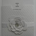 Esküvői meghívó  minta - fehér - dombormintás - virág- és szaténszalag díszítéssel, Esküvő, Naptár, képeslap, album, Nászajándék, Meghívó, ültetőkártya, köszönőajándék, Papírművészet, (Nézz körül Milevi boltomban is.) A fehér színű  meghívó pöttyös dombormintával, virág, gyöngymilto..., Meska