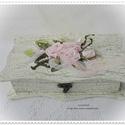 Vintage esküvő. Shabby shic doboz. Esküvői pénzátadó vagy ékszedoboz., Esküvő, Otthon, lakberendezés, Tárolóeszköz, Doboz, Mindenmás, Hímzés, Shabby shic hangulatú, vintage  doboz. 20x10x6 cm-es, esküvői pénzátadó doboz,(összehajtás nélkül e..., Meska