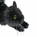Fekete cica, Dekoráció, Otthon, lakberendezés, Játék, Játékfigura, Mindenmás, Varrás, Nyújtózkodó vagy épp vadászó fekete cica saját tervek alapján. Feje, teste fekete fonalból készítet..., Meska
