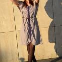 Tejeskávé-lila ruha, Ruha, divat, cipő, Női ruha, Ruha, Varrás, Tejeskávé színű ruha lila török mintás díszítésekkel, hajtásokkal, denevérujjal. Egy méret, S-M-L m..., Meska