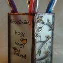Macskás mécsestartó vagy ceruzatartó, Dekoráció, Otthon, lakberendezés, Ünnepi dekoráció, Gyertya, mécses, gyertyatartó, Üvegművészet, Festett tárgyak, Savmart üvegre festett, tiffany technikával készített mécsestartó, ami akár, ceruza tartóként is az..., Meska