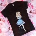 """V-nyakú Alice póló - több méret!, Ruha, divat, cipő, Gyerekruha, Női ruha, Felsőrész, póló, Fotó, grafika, rajz, illusztráció, Varrás, Ezt a pólót a japán """"fairy kei"""" és egyéb divatirányzatok inspirálták. Saját tervezésű mintával, szit..., Meska"""