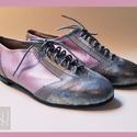 Levendula színű fűzős női bőrcipő, Ruha, divat, cipő, Esküvő, Cipő, papucs, Cipő, cipőklipsz, Bőrművesség, Egyedi készítésű levendula színű fűzős női bőrcipő. A cipő díszítéséhez halvány szürke-, és irizáló..., Meska