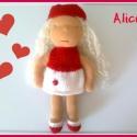 Alice, Baba-mama-gyerek, Játék, Játékfigura, Plüssállat, rongyjáték, Baba-és bábkészítés, Kötés, Alice baba 28cm magas Waldorf jellegű kislány. Fejét és testét ökotex pamutanyagból varrtam,tömőany..., Meska