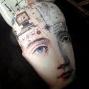 Vintage fej tűpárna, Dekoráció, Mindenmás, Varrás, Mindenmás, Vintage egyedileg nyomott mintás fej tűpárna. Mérete: 15cm x 9cm + akasztó (9cm), Meska