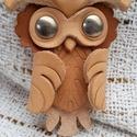 Bagoly - bőrkulcstartó, Mindenmás, Kulcstartó, Bőrművesség, Bagoly  - igazán egyedi bőrből készült kulcstartó.  Magassága kb. 8 cm, Meska