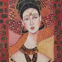 KLÜTAIMNESZTRA- olajfestmény , Képzőművészet , Festmény, Olajfestmény, Festészet, Technika:olaj-fa Méret:31x42cm A festmény-különleges, ikonszerű női portré, sajátos, egyedi díszíté..., Meska