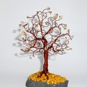 Citrin szerencsefa, Dekoráció, Esküvő, Dísz, Nászajándék, Gyöngyfűzés, 50 db citrin ásványkővel készült és 16 cm magas.  Lelki hatás:  A citrin védelmezi és megtisztítja ..., Meska
