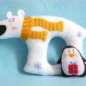 Együtt mókásabb! - Téli pajtások (pingvin és jeges mackó), Baba-mama-gyerek, Játék, Otthon, lakberendezés, Készségfejlesztő játék, Varrás, Filc anyagból készültek, ezek a saját tervezésű, kézzel készített, vidám téli kisbarátok: pingvin é..., Meska