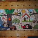 Varázserdő falvédő 18db álllatkával- hasonló rendelhető!, Baba-mama-gyerek, Dekoráció, Gyerekszoba, Falvédő, takaró, Varrás, Színes, vidám interaktív falvédő erdei házikóval, felhőkkel, ,odvas fákkal, avar kupaccal,virágzó b..., Meska