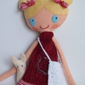 Rózi és Rita, Baba-mama-gyerek, Játék, Baba, babaház, Plüssállat, rongyjáték, Baba-és bábkészítés, Mindenmás, Kb. 39 cm magas, egyedi tervezésű, kézzel varrt, kedves textilbaba csini mini ruhában.Kézzel horgol..., Meska
