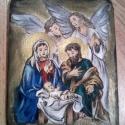 Jézus születése, Képzőművészet , Festmény, Akril, Akril fa festmények  14 x 11 cm, Meska