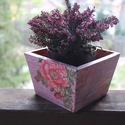 rózsás (virág)tartó, Otthon, lakberendezés, Kaspó, virágtartó, váza, korsó, cserép, , Meska