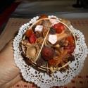 száraz virág illatcsokor, Dekoráció, Otthon, lakberendezés, Esküvő, Kaspó, virágtartó, váza, korsó, cserép, Virágkötés, Szárított termésekből, fahéj, ánizs, szegfűszeg és néhány szatén rózsával díszített kis romantikus ..., Meska