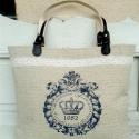 Vintage lenvászon táska, Táska, Válltáska, oldaltáska, Varrás, Minőségi írásos-koronás lenvászonból készült táska, valódi bőr füllel, jól pakolhatós belső térrel...., Meska