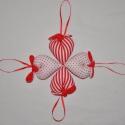 Csíkos és pöttyös romantikus textil szívek, Dekoráció, Karácsonyi, adventi apróságok, Karácsonyfadísz, Karácsonyi dekoráció, Varrás, Patchwork, foltvarrás, Piros/fehér pöttyös és piros színű anyag kombinációja, valamint piros/fehér csíkos és piros színű  t..., Meska