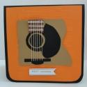 CD tartó a gitárzene szerelmeseinek, Képeslap, album, füzet, Ajándékkísérő, Képeslap, levélpapír, Papírművészet, Szeretnéd a barátodat meglepni egy új CD-vel? Nyújtsd át neki ebben a stílusos, egyedi CD tartóban...., Meska