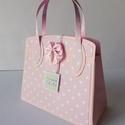 Egyedi, kézműves rózsaszín táska pénzátadó keresztelőre, Naptár, képeslap, album, Táska, Baba-mama-gyerek, Ajándékkísérő, Papírművészet, Gyönyörű, különleges, egyedi, kézműves pénzátadót készítettem keresztelőre kislány babáknak.   A ké..., Meska
