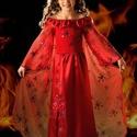 Tűzvarázs hercegnő jelmez 104-134 méretben, Ruha, divat, cipő, Gyerekruha, Gyerek (4-10 év), Varrás, A Tűzvarázs jelmez felső része rugalmas, így 8-10cm-rel is nyúlik. A fodros vállrész pántként és vá..., Meska