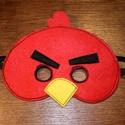 piros angry birds álarc filcből, Ruha, divat, cipő, Játék, Játékfigura, Varrás,  Álarc két réteg filcből varrva. A szabásmintát is magam készítettem hozzá.  Mérete: Kb. 19*14Cm (+..., Meska