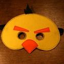 sárga angry birds álarc filcből, Ruha, divat, cipő, Játék, Játékfigura, Varrás,  Álarc két réteg filcből varrva. A szabásmintát is magam készítettem hozzá.  Mérete: Kb. 19*14Cm (+..., Meska