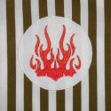 Kötény fiúknak (tűz), Konyhafelszerelés, Kötény, Varrás, Keki-fehér csíkos pamutvászonból szabtam ki ezt a fiúkötényt, melynek az elejére gépi hímzéssel egy ..., Meska