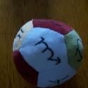 Babalabda hímzett, Baba-mama-gyerek, Játék, Baba játék, Varrás, Babaplüss anyagból készült. 4 színű, hímzéssel díszítve, a 12 állatövi jegy jele található rajta. M..., Meska