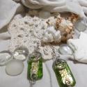 Fleur - Ezüst nyomott díszes gyöngy és ezüst színű drót díszítés, Ékszer, óra, Ruha, divat, cipő, Fülbevaló, Női ruha, Ékszerkészítés, Fémmegmunkálás, Fleur egy fülbevaló fényes, zöld színben.  Színe: zöld, ezüst  Méret: 45x15mm  Felhasználtam hozzá:..., Meska