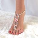 Rózsakvarc -ezüst lábékszer, Ékszer, óra, Esküvő, Bokalánc, Esküvői ékszer, Ékszerkészítés, Gyöngyfűzés, Ezüst üveggyöngyökből, rózsakvarc ásványgyöngyökből és égszínkék irizáló, csiszolt üveggyöngyökből ..., Meska