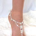 Gyöngyös -kristályos ezüst lábékszer, Esküvő, Ékszer, óra, Esküvői ékszer, Bokalánc, Ékszerkészítés, Gyöngyfűzés, Ezüst üveggyöngyökből, fehér tekla gyöngyökből és átlátszó, csiszolt üveggyöngyökből, készítettem e..., Meska