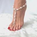 Rózsaszín tekla lábékszer, Ékszer, óra, Esküvő, Bokalánc, Esküvői ékszer, Ékszerkészítés, Gyöngyfűzés, Rózsaszín cseh, üveg tekla gyöngyök, átlátszó kristálygyöngyök és ezüst színű üveggyöngyök felhaszn..., Meska