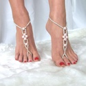Rózsaszín -ezüst lábékszer, Ékszer, óra, Esküvő, Bokalánc, Esküvői ékszer, Ékszerkészítés, Gyöngyfűzés, Rózsaszín, cseh üveg teklagyöngyökből és ezüst színű üveggyöngyökből készítettem ezt a lábékszert. ..., Meska