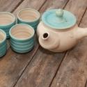 Japános teáskészlet, kiöntővel (tükiz), Konyhafelszerelés, Otthon, lakberendezés, Kancsó , Bögre, csésze, Kerámia, Fehér, pöttyös agyagból készült, magastűzön (1200 fokon) tömörre égetett japános teáskészlet, matt ..., Meska