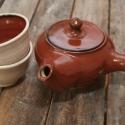 Japános teáskészlet, kiöntővel (tenmoku), Konyhafelszerelés, Otthon, lakberendezés, Kancsó , Bögre, csésze, Kerámia, Fehér, pöttyös agyagból készült, magastűzön (1200 fokon) tömörre égetett japános teáskészlet, 2 csé..., Meska