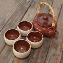 Japános teáskészlet, teáskannával (tenmoku, nagy), Konyhafelszerelés, Otthon, lakberendezés, Kancsó , Bögre, csésze, Kerámia, Fehér agyagból készült, magastűzön (1200 fokon) tömörre égetett japános teáskészlet, 4 csészével és..., Meska