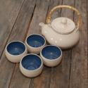 Japános teáskészlet, teáskannával (kék-fehér), Konyhafelszerelés, Otthon, lakberendezés, Kancsó , Bögre, csésze, Kerámia, Fehér agyagból készült, magastűzön (1200 fokon) tömörre égetett japános teáskészlet, 4 csészével és..., Meska