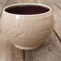 Kerámia japános teácsésze (lila-fehér), Otthon, lakberendezés, Konyhafelszerelés, Bögre, csésze, Kerámia, Fehér agyagból készült, magastűzön (1200 fokon) tömörre égetett japános teás csésze, repesztett kül..., Meska