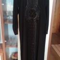 Fekete alkalmi, Ruha, divat, cipő, Női ruha, Ruha, Varrás, Fekete selyem alkalmi  ruha,elején és ujján szalag és strassz díszítés.Nagy méret.Mellbőség 108cm,c..., Meska