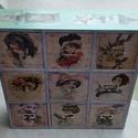 Romantikus 9 fiókos kis fakomód, tároló, Bútor, Komód, , Meska