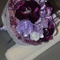 Egyedi szaténvirág és csipke esküvöi csokor, Esküvő, Esküvői csokor, Virágkötés, Saját készítésü szatén  virágokból készült egyedi mennyasszonyi, dobó csokor. Mérete kb. 30 x 25 cm..., Meska
