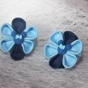 Kanzashi kék virág  Minnie egér dísszel, Ruha, divat, cipő, Hajbavaló, Hajcsat, Hajgumi, Ékszerkészítés, Kétféle kék ripsz szalagból készült kanzashi virág Minnie egér dísszel, hajgumira rögzítve. Kérésre..., Meska