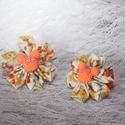 Kanzashi narancssárga anyagvirág Minnie egér dísszel hajgumin, Ruha, divat, cipő, Hajbavaló, Hajgumi, Hajcsat, Ékszerkészítés, Naranccssárga apró virágos pamutvászonból készült kanzashi virág , narancssárga Minnie egér dísssze..., Meska