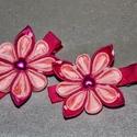 Rózsaszín kisvirágos hajcsat, Ruha, divat, cipő, Hajbavaló, Hajcsat, Hajgumi, Ékszerkészítés, Mindenmás, Kétféle rózsaszínü szalagból készítettem ezt a kisvirágot és 5cm-es aligátor hajcsatra rögzítettem...., Meska