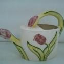 Rózsaszín tulipános kanna, Dekoráció, Konyhafelszerelés, Otthon, lakberendezés, Kancsó , , Meska