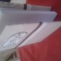 füzet borító, Képzőművészet, Táska, Pénztárca, tok, tárca, Varrás, Lenvászonból készült fehér vászonnal béleltem. barna dísz szalaggal díszítettem., Meska