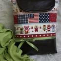 Mini textilbőr táska, Táska, Válltáska, oldaltáska, Egy igazi vidám és elegáns darab, mely fiatalosságát a mélybordó/barna textilbőr és a designer texti..., Meska