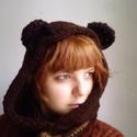 Kézzel kötött barna Mackó kapucni, Ruha, divat, cipő, Kendő, sál, sapka, kesztyű, Sapka, Sál, Kötés, Ez a maci füles kapucni, kézzel kötött, vidám bohókás viselet ősszel és télen is. Kézzel, langyos v..., Meska